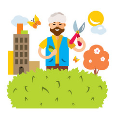 Gardener in the city flat style colorful vector