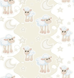 Seamless pattern with cartoon sleepy baby sheeps vector image