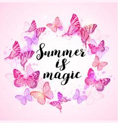 Summer background with pink butterflies vector