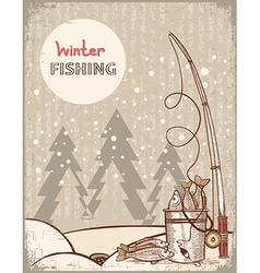 Fishing in Christmas nightVintage winter image vector image