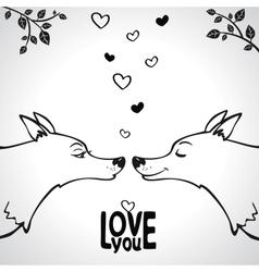 Wolf love vector