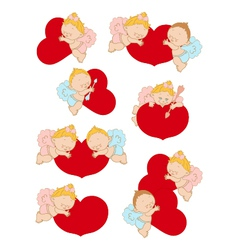 Set with cupids for valentines day and weddings vector