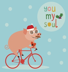 Cute holiday with pig on bicycle vector