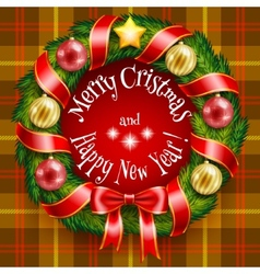 Christmas wreath on a tan plaid background vector