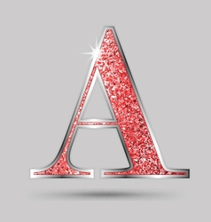 A Red Garnet Glitter Upper Case Letter vector image