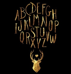 Hand drawn gold foil letters and stag set vector