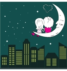 Loving couple man and woman sitting on the moon in vector image