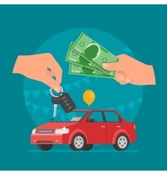 Car sale  customer buying car vector