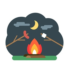 Bonfire with marshmallow and sausage camping vector