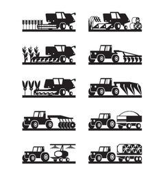 Agricultural machinery in the field vector