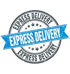 Express delivery blue round grunge vintage ribbon vector