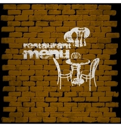 Restaurant menu template on a brick wall uno vector