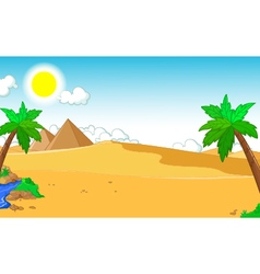 Beautiful view of tree cartoon with desert vector