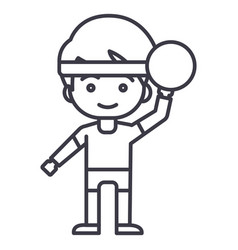 boy playing with ball line icon sig vector image vector image