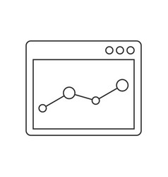 Browser window with chart line icon vector