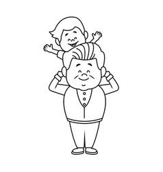 cartoon happy grandpa and his grandson on white vector image