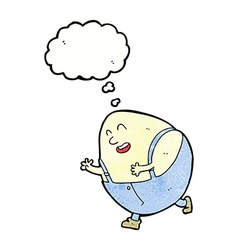 Cartoon humpty dumpty egg character with thought vector
