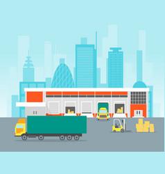 Cartoon warehouse distribution logistics vector