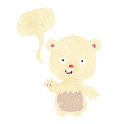cartoon waving polar bear cub with speech bubble vector image vector image