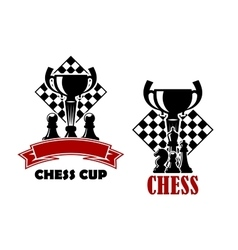 Chess game icons with cup and chessmen vector