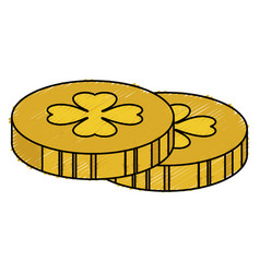 Coins with clover icon vector