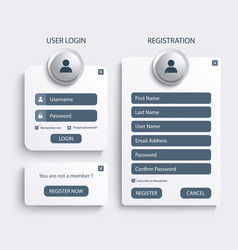 collection login and register web screen template vector image vector image