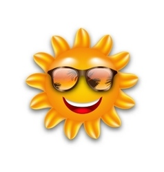 Concept of Funny Sun with Sunglasses Isolated vector image