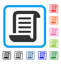 Conclusion roll document framed icon vector