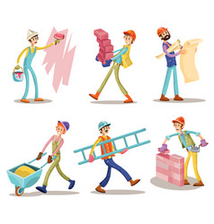 construction workers funny cartoon set vector image
