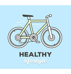 Creative sport bicycle with text on blue vector