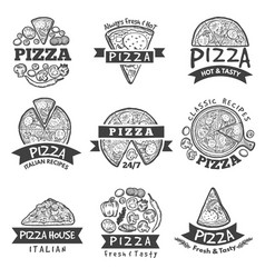 different labels set for pizza restaurant vector image