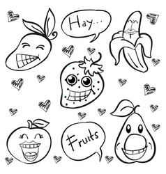 Doodle of fruit funny style vector