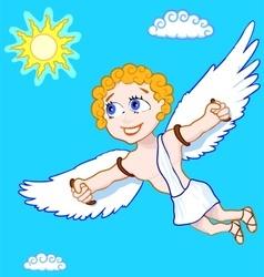 Fly happy man in blue sky vector image vector image