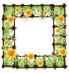 Frame template with yellow flowers vector