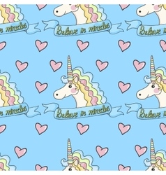 Funny pattern unicorn with heart on a blue vector