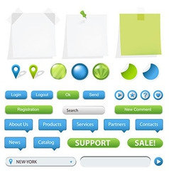 GPS Navigation Elements And Blank Note Papers vector image