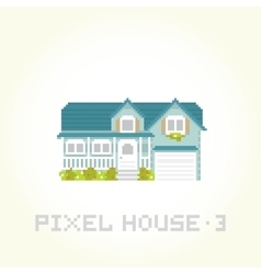 Isolated house in pixel art style 3 vector image vector image