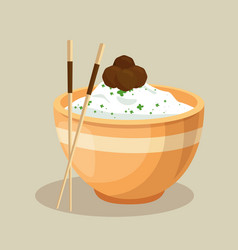 Japanese rice dish and chopsticks vector