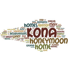 Kona homes perfect for honeymooners text vector