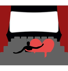 Love in cinema Man and heart in cinemas Places for vector image