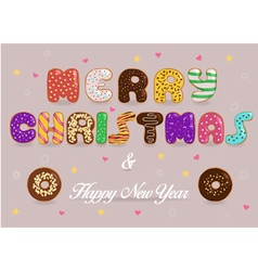 Merry christmas and happy new year donuts font vector