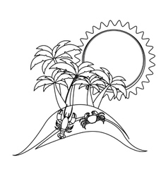monochrome contour with beach with crab and vector image vector image