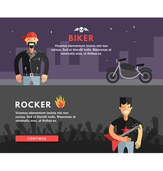 Profession concept biker and rocker flat design vector