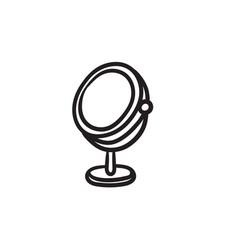 Round makeup mirror sketch icon vector