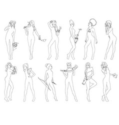 Set of girls by the number of signs of the zodiac vector