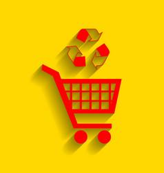 Shopping cart icon with a recycle sign red vector