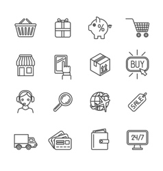 Shopping e-commerce icons set flat outline vector