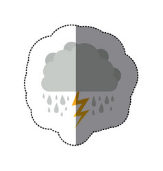 Sticker cumulus cloud with rain and thunder vector