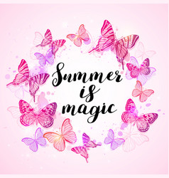 Summer background with pink butterflies vector