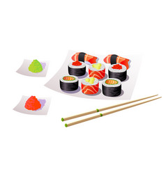 sushi japanese food vector image
